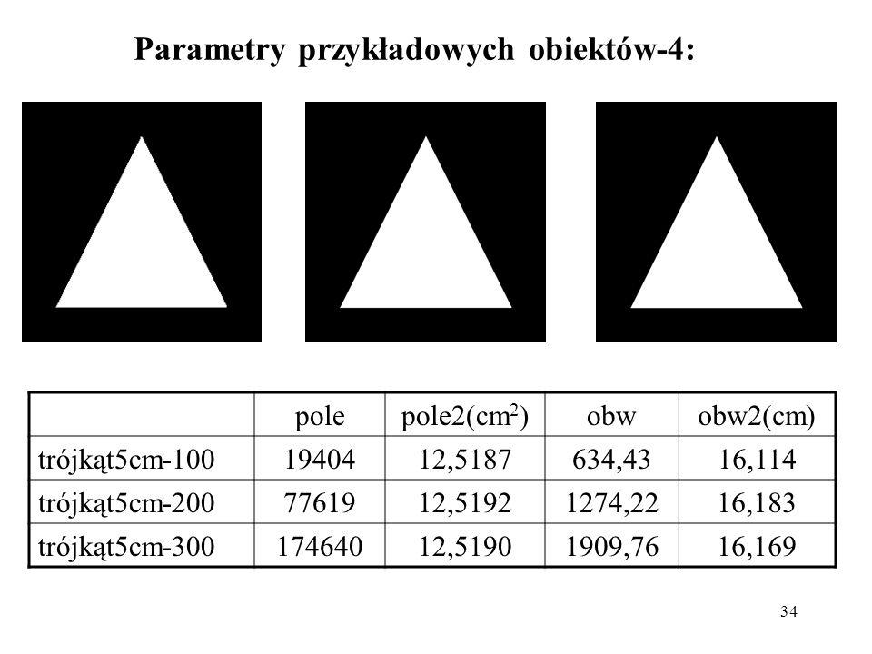 34 Parametry przykładowych obiektów-4: polepole2(cm 2 )obwobw2(cm) trójkąt5cm-1001940412,5187634,4316,114 trójkąt5cm-2007761912,51921274,2216,183 trój