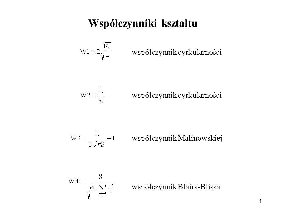 35 Parametry przykładowych obiektów-5: W1W2W3W4W8W9 koło2cm-100157,5857158,54950,00611,00000,3151990,9939 koło2cm-200314,7713314,6848-0,00031,00000,3166061,0003 koło2cm-300472,0942471,8201-0,00061,00000,3177571,0006 kwadrat5cm-100222,2964238,30000,07200,97720,2631430,9328 kwadrat5cm-200444,5771474,89300,06820,97720,2634190,9362 kwadrat5cm-300666,8692712,69300,06870,97720,2635120,9357 trójkąt5cm-100157,1812201,94470,28480,72170,30740,7783 trójkąt5cm-200314,3685405,59650,29020,72370,30840,7751 trójkąt5cm-300471,5491607,89480,28910,72170,30840,7757