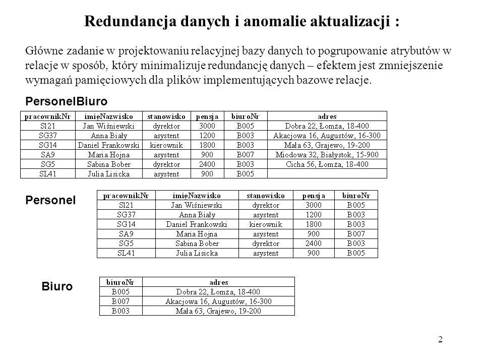 2 Redundancja danych i anomalie aktualizacji : Główne zadanie w projektowaniu relacyjnej bazy danych to pogrupowanie atrybutów w relacje w sposób, któ