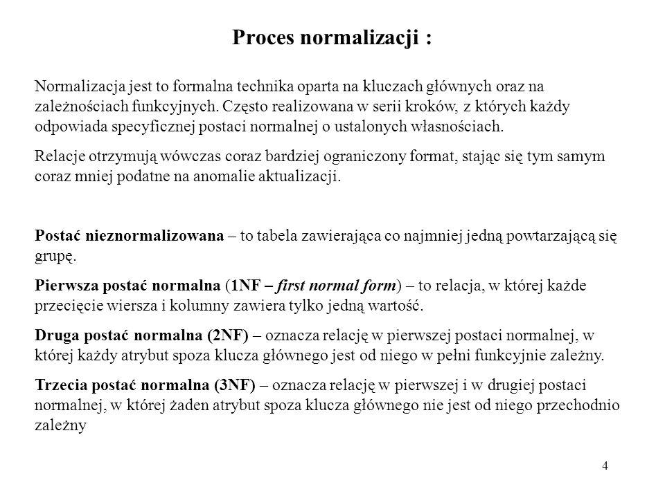 4 Proces normalizacji : Normalizacja jest to formalna technika oparta na kluczach głównych oraz na zależnościach funkcyjnych. Często realizowana w ser