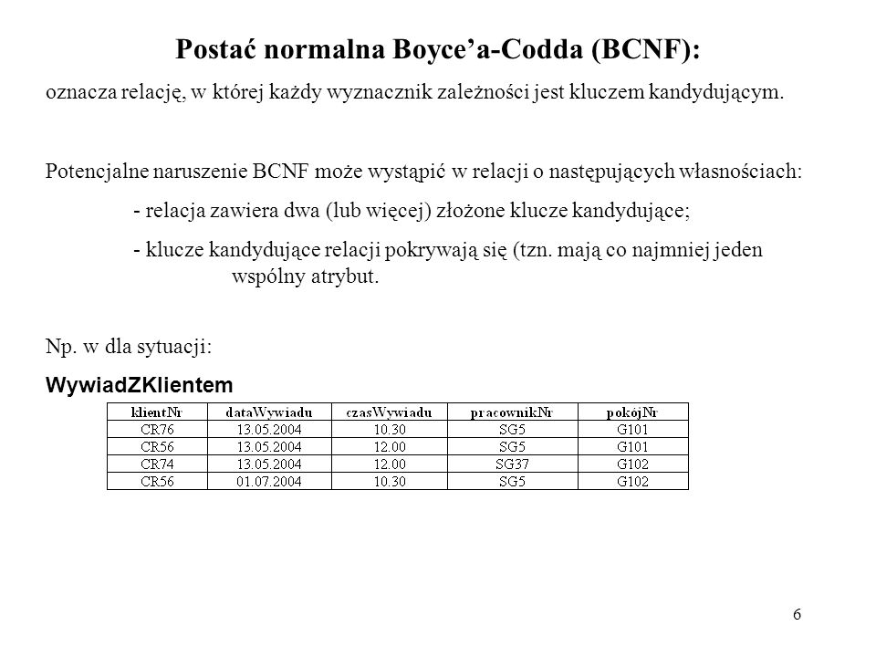 6 Postać normalna Boycea-Codda (BCNF): oznacza relację, w której każdy wyznacznik zależności jest kluczem kandydującym. Potencjalne naruszenie BCNF mo