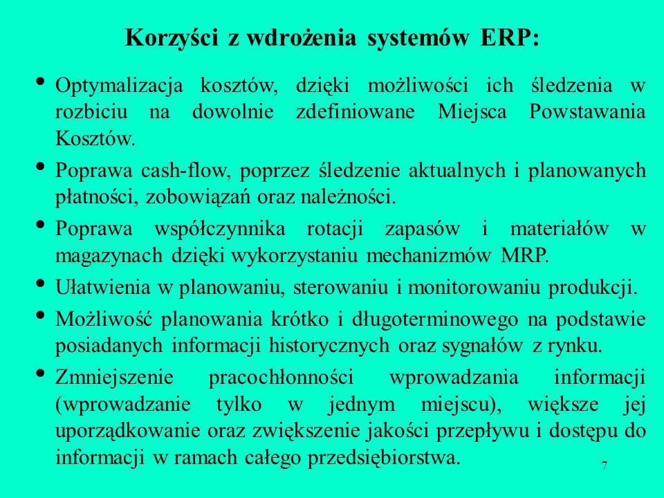 7 Korzyści z wdrożenia systemów ERP: Optymalizacja kosztów, dzięki możliwości ich śledzenia w rozbiciu na dowolnie zdefiniowane Miejsca Powstawania Ko