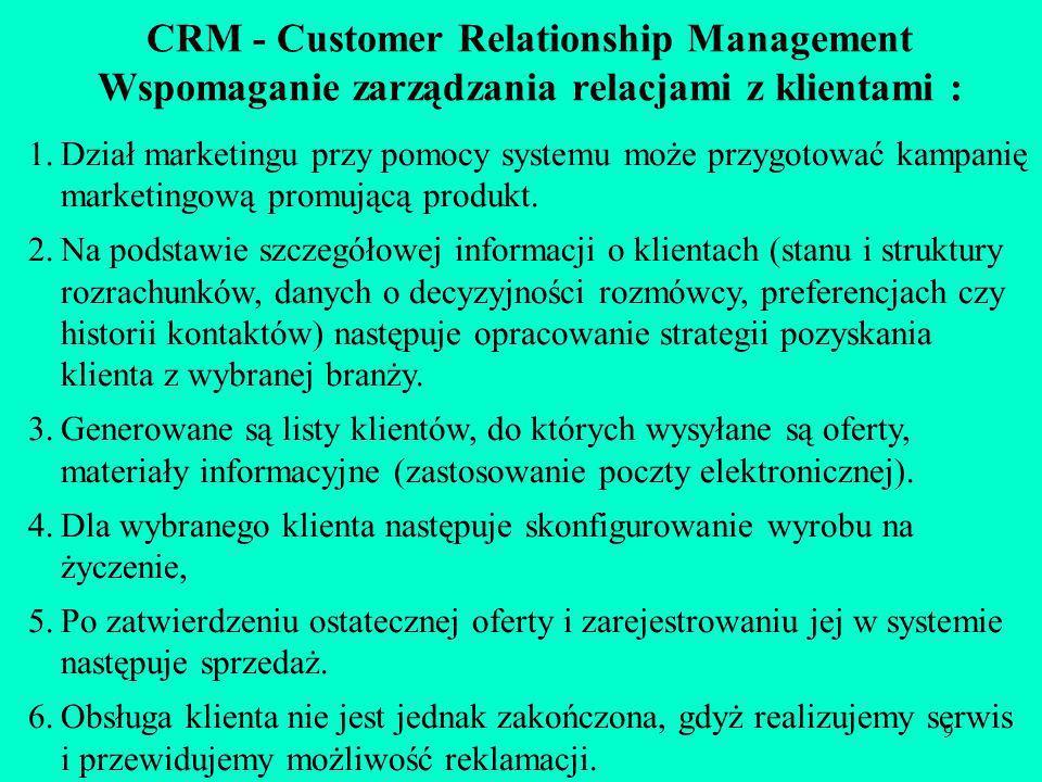 9 CRM - Customer Relationship Management Wspomaganie zarządzania relacjami z klientami : 1.Dział marketingu przy pomocy systemu może przygotować kampa