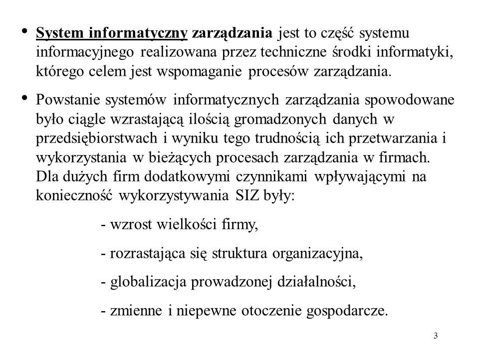 3 System informatyczny zarządzania jest to część systemu informacyjnego realizowana przez techniczne środki informatyki, którego celem jest wspomagani