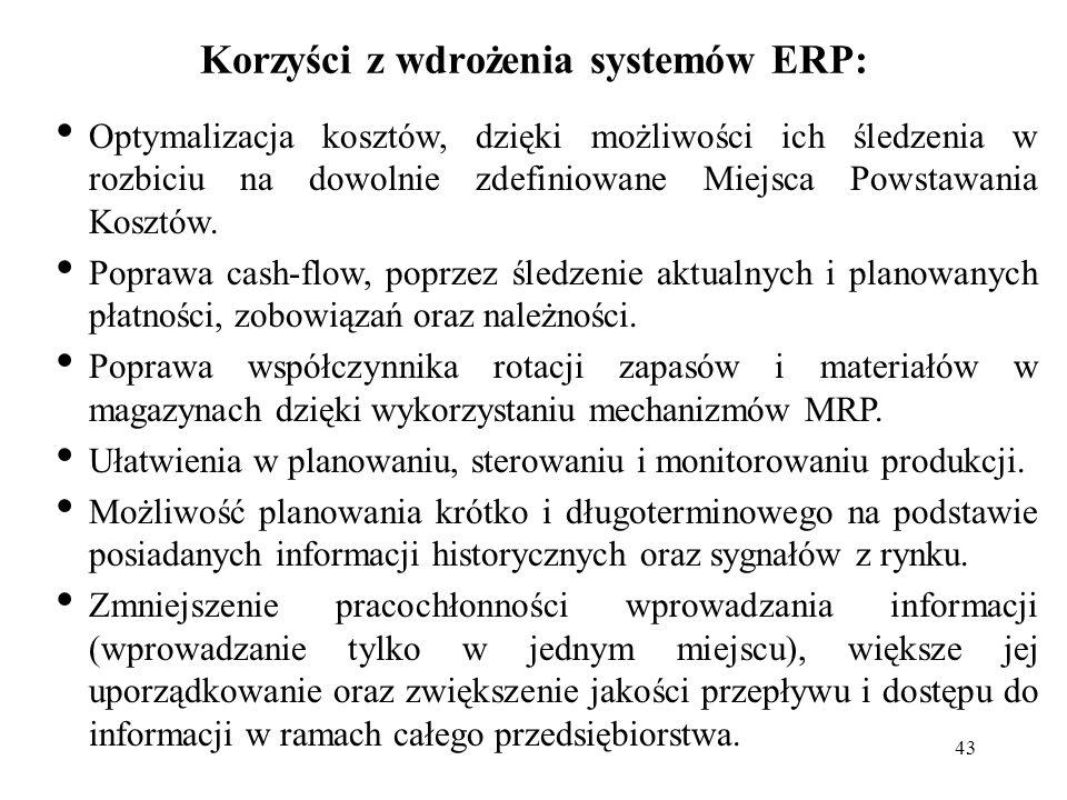 43 Korzyści z wdrożenia systemów ERP: Optymalizacja kosztów, dzięki możliwości ich śledzenia w rozbiciu na dowolnie zdefiniowane Miejsca Powstawania K