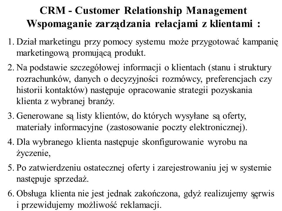 44 CRM - Customer Relationship Management Wspomaganie zarządzania relacjami z klientami : 1.Dział marketingu przy pomocy systemu może przygotować kamp