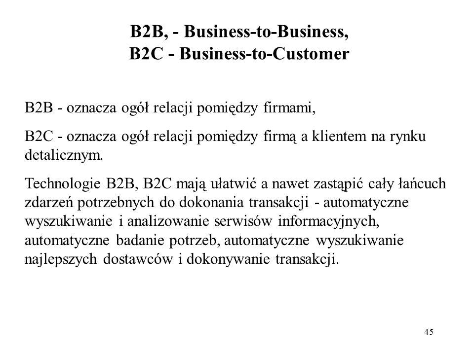 45 B2B, - Business-to-Business, B2C - Business-to-Customer B2B - oznacza ogół relacji pomiędzy firmami, B2C - oznacza ogół relacji pomiędzy firmą a kl