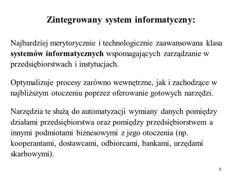 6 Zintegrowany system informatyczny: Najbardziej merytorycznie i technologicznie zaawansowana klasa systemów informatycznych wspomagających zarządzani