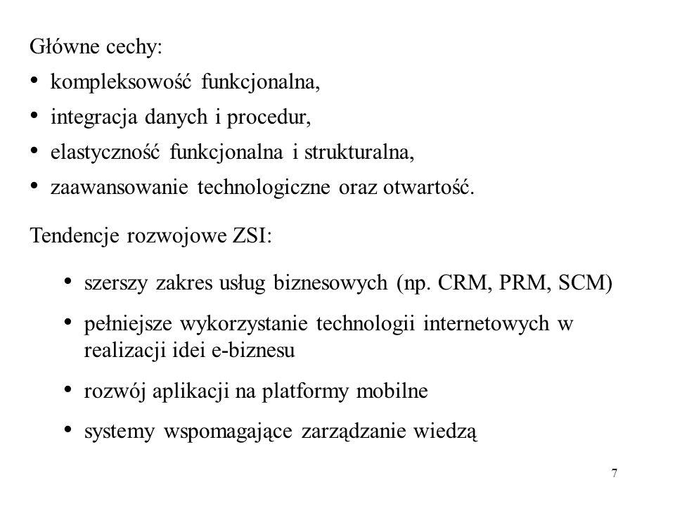 7 Główne cechy: kompleksowość funkcjonalna, integracja danych i procedur, elastyczność funkcjonalna i strukturalna, zaawansowanie technologiczne oraz