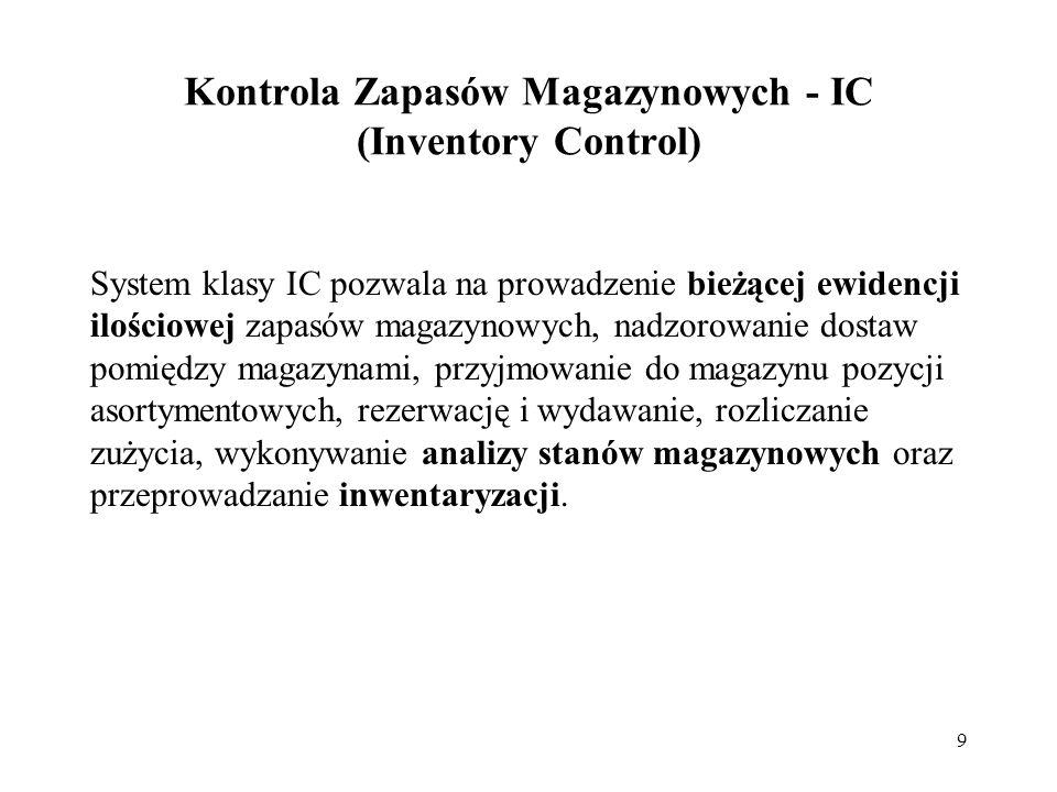 9 Kontrola Zapasów Magazynowych - IC (Inventory Control) System klasy IC pozwala na prowadzenie bieżącej ewidencji ilościowej zapasów magazynowych, na
