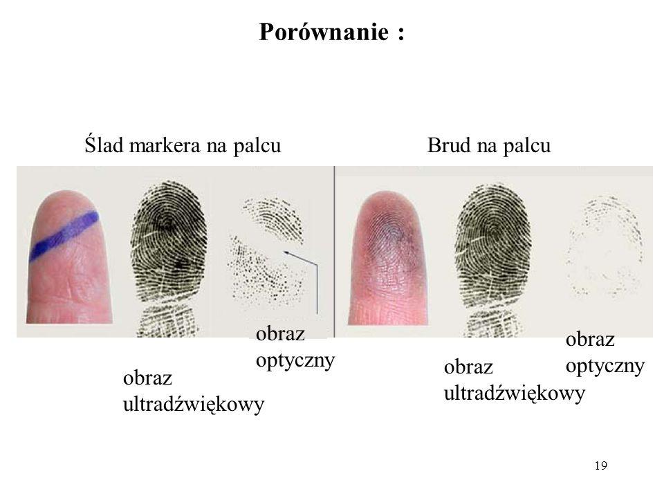 19 Porównanie : obraz ultradźwiękowy obraz optyczny obraz ultradźwiękowy obraz optyczny Ślad markera na palcuBrud na palcu