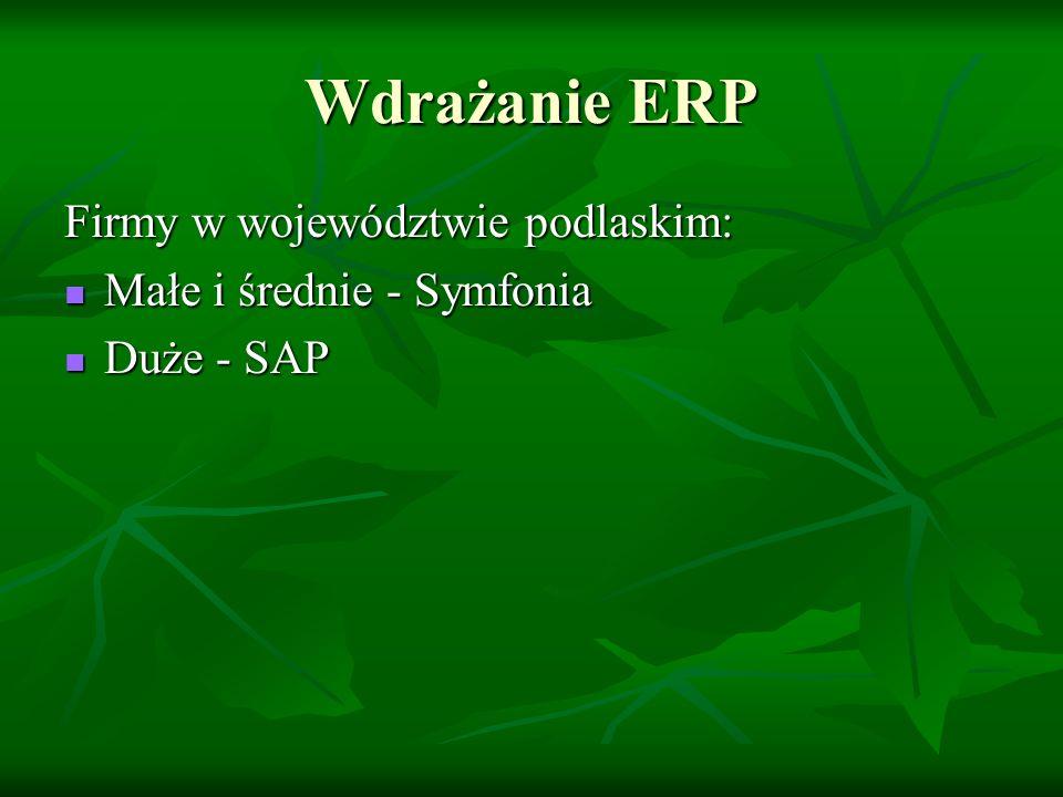 Wdrażanie ERP Firmy w województwie podlaskim: Małe i średnie - Symfonia Małe i średnie - Symfonia Duże - SAP Duże - SAP