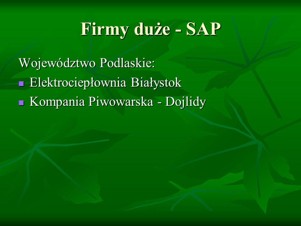 Firmy duże - SAP Województwo Podlaskie: Elektrociepłownia Białystok Elektrociepłownia Białystok Kompania Piwowarska - Dojlidy Kompania Piwowarska - Dojlidy