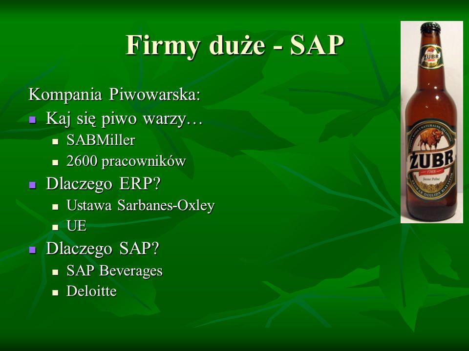 Firmy duże - SAP Kompania piwowarska: Obszary zastosowania: Obszary zastosowania: Finanse, księgowość, kontroling, gospodarka materiałowa, dystrybucja Finanse, księgowość, kontroling, gospodarka materiałowa, dystrybucja Zespół projektowy: Zespół projektowy: ~100 osób ~100 osób Zewnętrzny Deloitte, SAP Zewnętrzny Deloitte, SAP Wewnętrzny: KP, Deloitte, SAP Wewnętrzny: KP, Deloitte, SAP BPO (właściciel procesów biznesowych), BTL (kierownik Teamu) BPO (właściciel procesów biznesowych), BTL (kierownik Teamu) Metoda wdrożeniowa Metoda wdrożeniowa eXpress eXpress Szkolenia: Szkolenia: Użytkownicy, administratorzy = 600 osób Użytkownicy, administratorzy = 600 osób Centra, SAP Tutor, Help Desk SAP Centra, SAP Tutor, Help Desk SAP Problemy konfiguracji ERP: Problemy konfiguracji ERP: SAP Beverage (zarządzanie opakowaniami zwrotnymi) SAP Beverage (zarządzanie opakowaniami zwrotnymi) Akcyza Akcyza Budżet i czas realizacji projektu Budżet i czas realizacji projektu