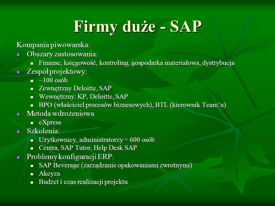 Firmy duże - SAP Kompania piwowarska: Infrastruktura informatyczna: Infrastruktura informatyczna: SAP (mySAP ERP 2004): SAP (mySAP ERP 2004): ERP Central Component (ECC) ERP Central Component (ECC) Exchange Intelligence (XI) – infrastruktura wymiany danych Exchange Intelligence (XI) – infrastruktura wymiany danych Enterprise Portal (EP) – portal korporacyjny Enterprise Portal (EP) – portal korporacyjny Business Warehouse (BW) – hurtownia danych Business Warehouse (BW) – hurtownia danych Service Management (SM) Service Management (SM) Serwery IBM (z gwarancją 24x7) – firma Itelligence Serwery IBM (z gwarancją 24x7) – firma Itelligence Server Disaster Recovery (w siedzibie KP) Server Disaster Recovery (w siedzibie KP) System redundancja Microsoft Cluster System redundancja Microsoft Cluster Platforma Windows i baza SQL Server Platforma Windows i baza SQL Server
