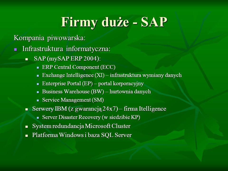 Firmy duże - SAP Kompania Piwowarska: Proces migracji: Proces migracji: 1-2 kwiecień 2006 1-2 kwiecień 2006 Jednoczesne uruchomienie w 3 browarach i 16 centrach dystrybucji Jednoczesne uruchomienie w 3 browarach i 16 centrach dystrybucji Centralnie kierowany proces – help desk Centralnie kierowany proces – help desk Plan wdrożeniowy ~kilkaset pozycji Plan wdrożeniowy ~kilkaset pozycji 1 kwietnia – inwentaryzacja starego systemu 1 kwietnia – inwentaryzacja starego systemu 2 kwietnia – uruchomienie nowego 2 kwietnia – uruchomienie nowego Sukces Sukces
