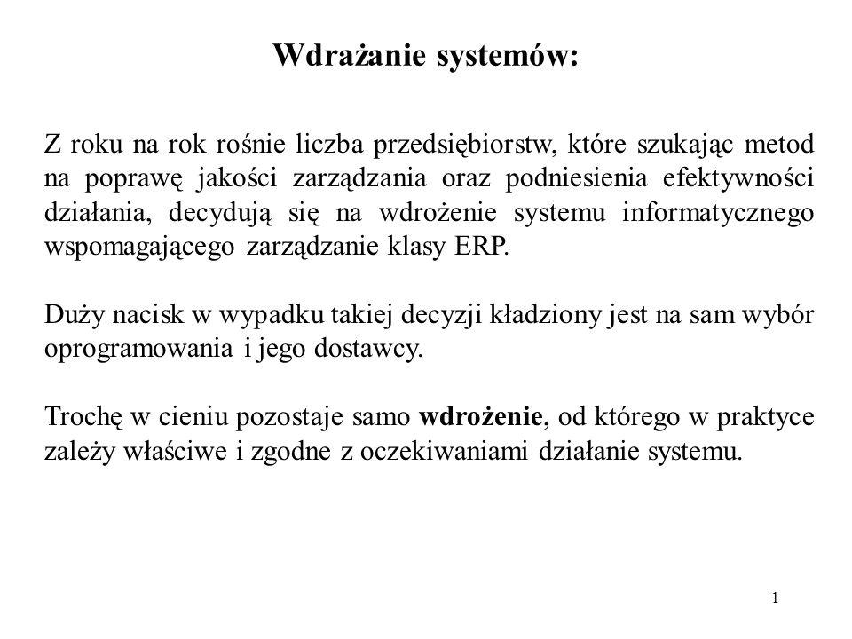 2 Wdrożenie systemu: Wdrożenie zintegrowanego systemu zarządzania jest przedsięwzięciem bardzo złożonym.