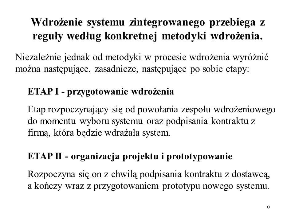 17 Wybrane metodyki wdrożeń systemów: FazySystem, Metodyka Charakterystyka 3Baan IV, Target Enterprise 1) Odwzorowanie, 2) Pilotaż, 3) Migracja.