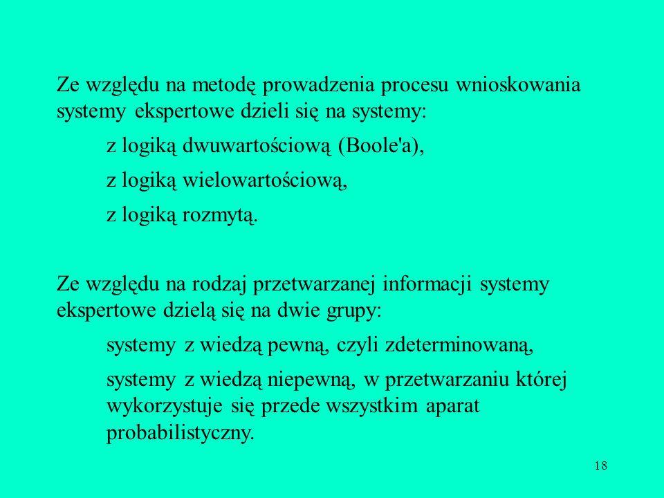 18 Ze względu na metodę prowadzenia procesu wnioskowania systemy ekspertowe dzieli się na systemy: z logiką dwuwartościową (Boole'a), z logiką wielowa