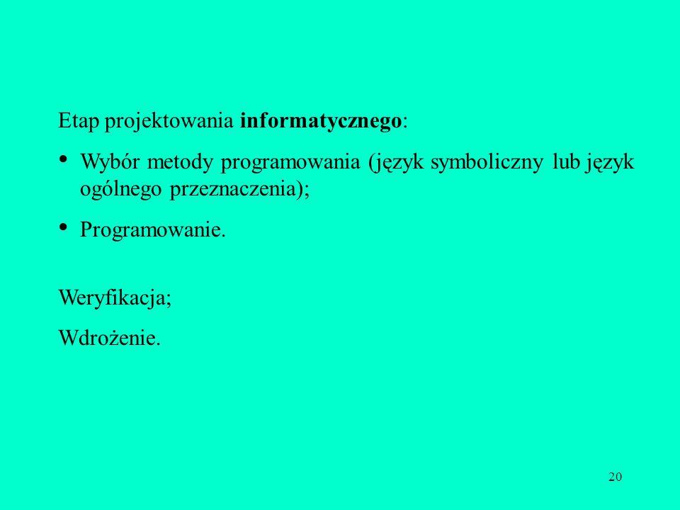 20 Etap projektowania informatycznego: Wybór metody programowania (język symboliczny lub język ogólnego przeznaczenia); Programowanie. Weryfikacja; Wd