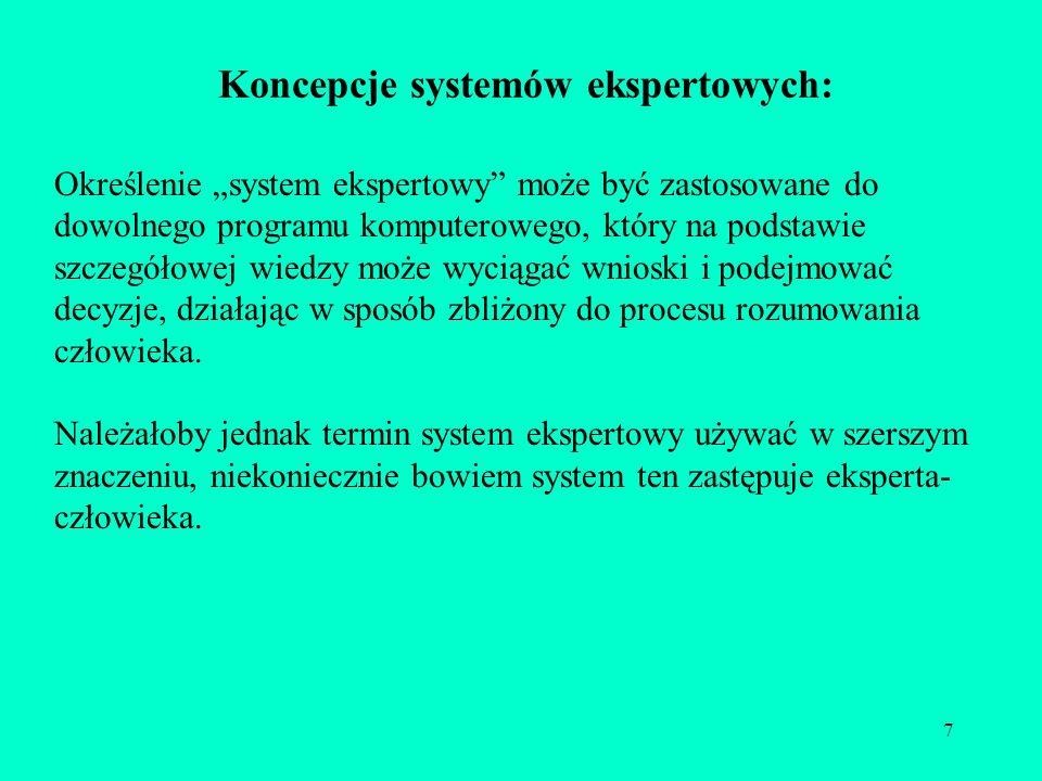 7 Koncepcje systemów ekspertowych: Określenie system ekspertowy może być zastosowane do dowolnego programu komputerowego, który na podstawie szczegóło