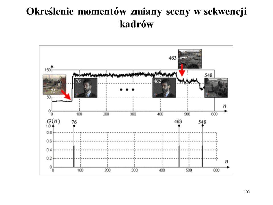 26 Określenie momentów zmiany sceny w sekwencji kadrów