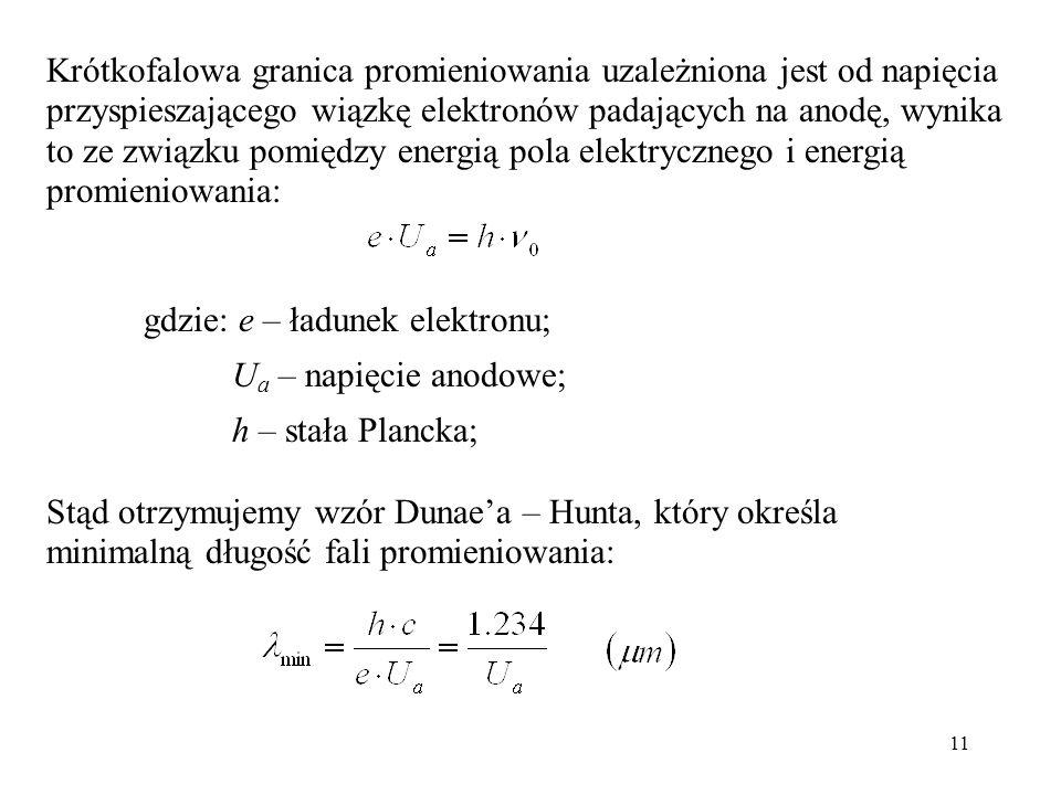 11 Krótkofalowa granica promieniowania uzależniona jest od napięcia przyspieszającego wiązkę elektronów padających na anodę, wynika to ze związku pomiędzy energią pola elektrycznego i energią promieniowania: gdzie: e – ładunek elektronu; U a – napięcie anodowe; h – stała Plancka; Stąd otrzymujemy wzór Dunaea – Hunta, który określa minimalną długość fali promieniowania: