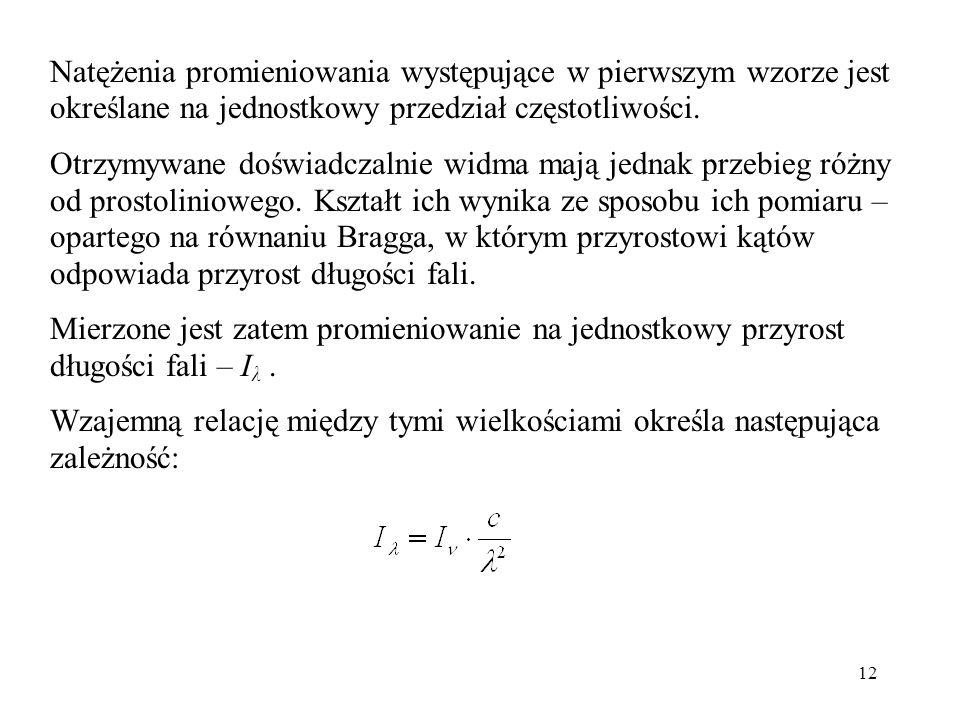12 Natężenia promieniowania występujące w pierwszym wzorze jest określane na jednostkowy przedział częstotliwości.