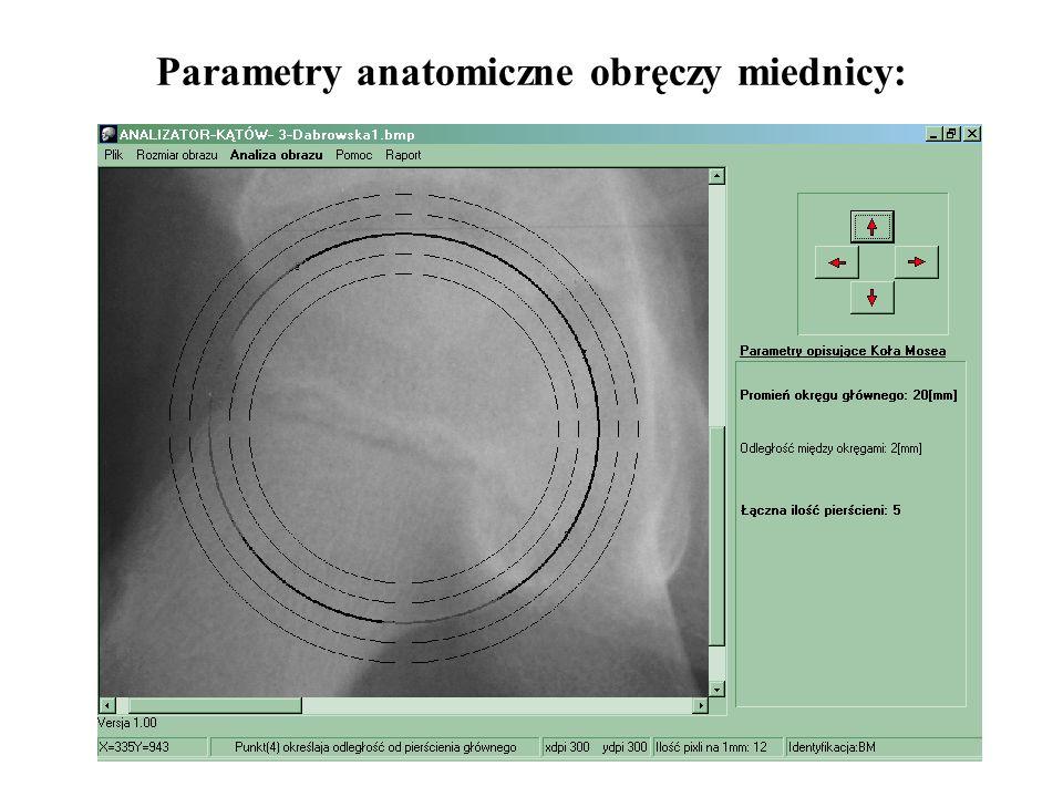 54 Parametry anatomiczne obręczy miednicy: