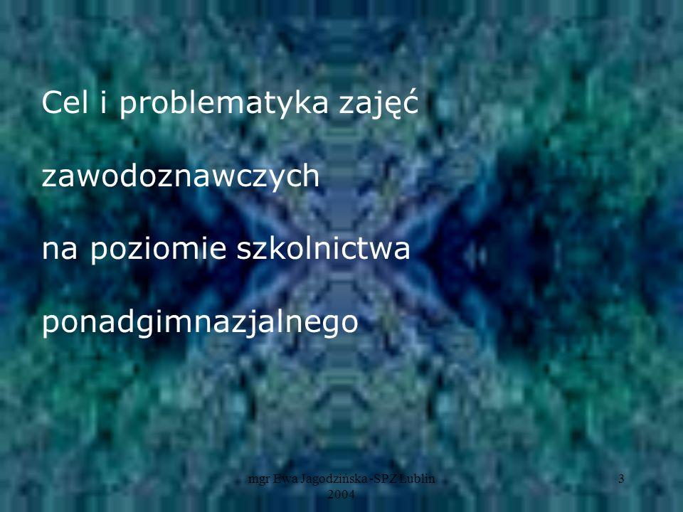 mgr Ewa Jagodzińska -SPZ Lublin 2004 4 Wykorzystanie okresu szkolnego do wszechstronnego rozwoju zawodowego ucznia poprzez psychoedukację zawodową