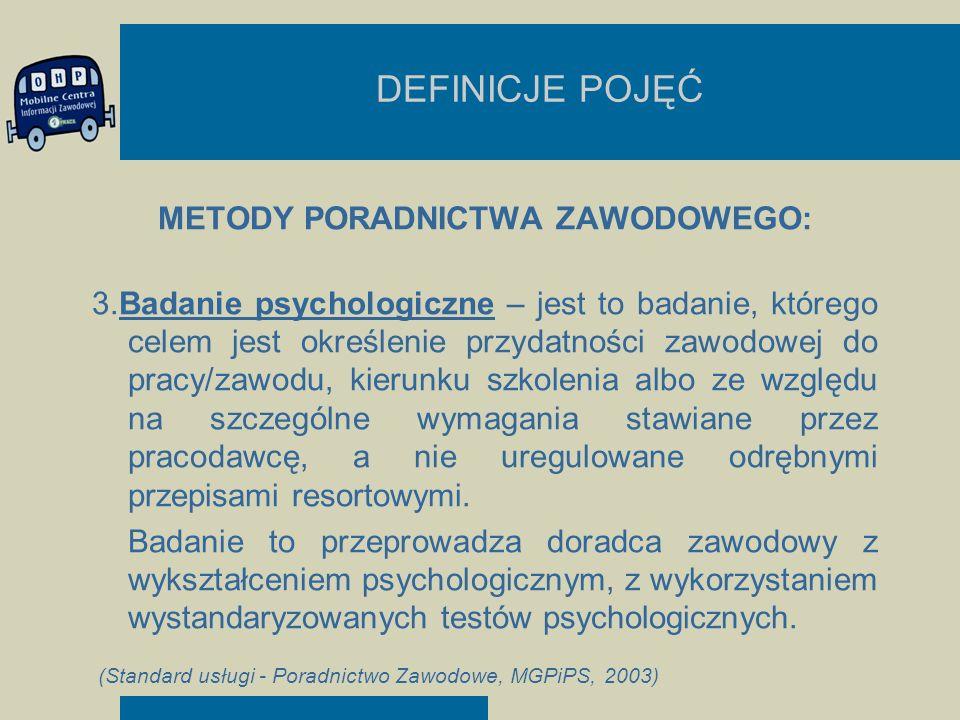 DEFINICJE POJĘĆ METODY PORADNICTWA ZAWODOWEGO: 3.Badanie psychologiczne – jest to badanie, którego celem jest określenie przydatności zawodowej do pra