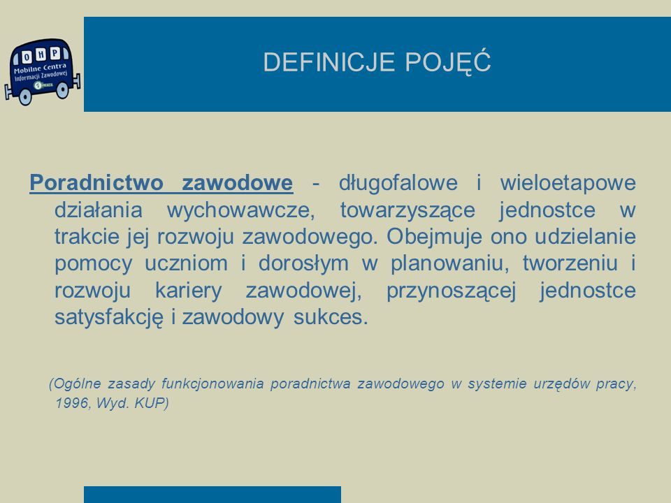 DEFINICJE POJĘĆ Poradnictwo zawodowe - długofalowe i wieloetapowe działania wychowawcze, towarzyszące jednostce w trakcie jej rozwoju zawodowego. Obej