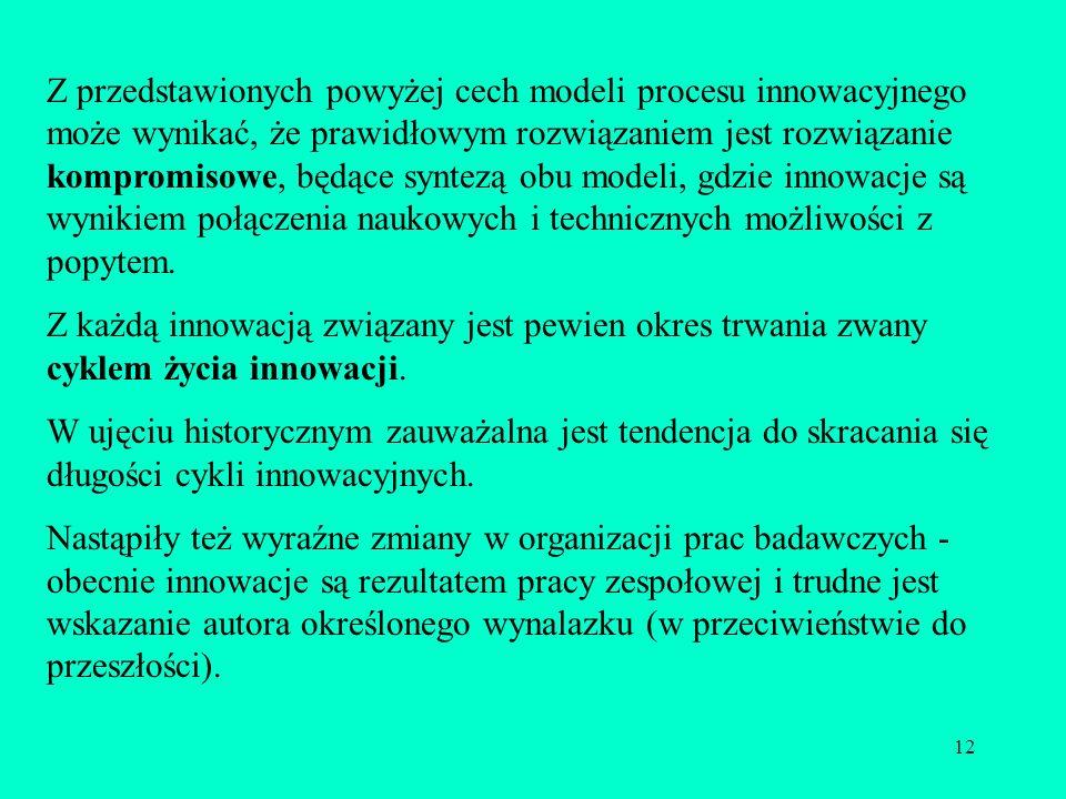 12 Z przedstawionych powyżej cech modeli procesu innowacyjnego może wynikać, że prawidłowym rozwiązaniem jest rozwiązanie kompromisowe, będące syntezą