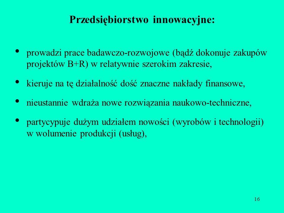 16 Przedsiębiorstwo innowacyjne: prowadzi prace badawczo-rozwojowe (bądź dokonuje zakupów projektów B+R) w relatywnie szerokim zakresie, kieruje na tę