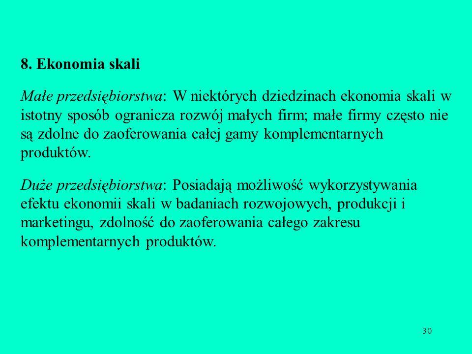 30 8. Ekonomia skali Małe przedsiębiorstwa: W niektórych dziedzinach ekonomia skali w istotny sposób ogranicza rozwój małych firm; małe firmy często n
