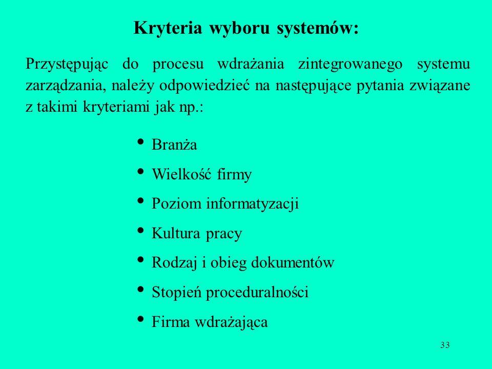 33 Kryteria wyboru systemów: Przystępując do procesu wdrażania zintegrowanego systemu zarządzania, należy odpowiedzieć na następujące pytania związane