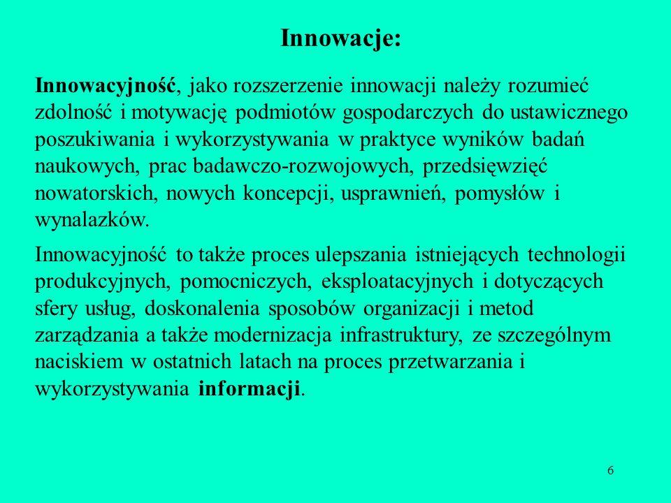 6 Innowacje: Innowacyjność, jako rozszerzenie innowacji należy rozumieć zdolność i motywację podmiotów gospodarczych do ustawicznego poszukiwania i wy