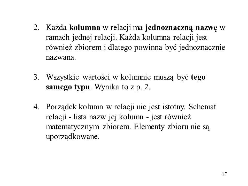 17 2.Każda kolumna w relacji ma jednoznaczną nazwę w ramach jednej relacji.