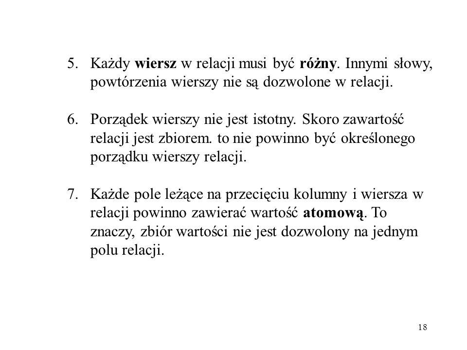 18 5.Każdy wiersz w relacji musi być różny.