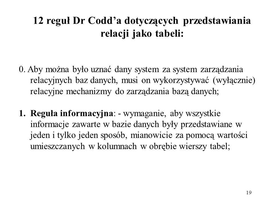 19 12 reguł Dr Codda dotyczących przedstawiania relacji jako tabeli: 0. Aby można było uznać dany system za system zarządzania relacyjnych baz danych,