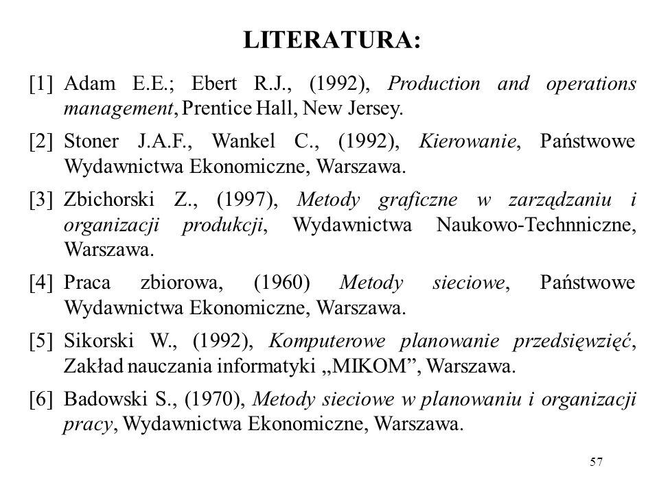 57 LITERATURA: [1]Adam E.E.; Ebert R.J., (1992), Production and operations management, Prentice Hall, New Jersey. [2]Stoner J.A.F., Wankel C., (1992),