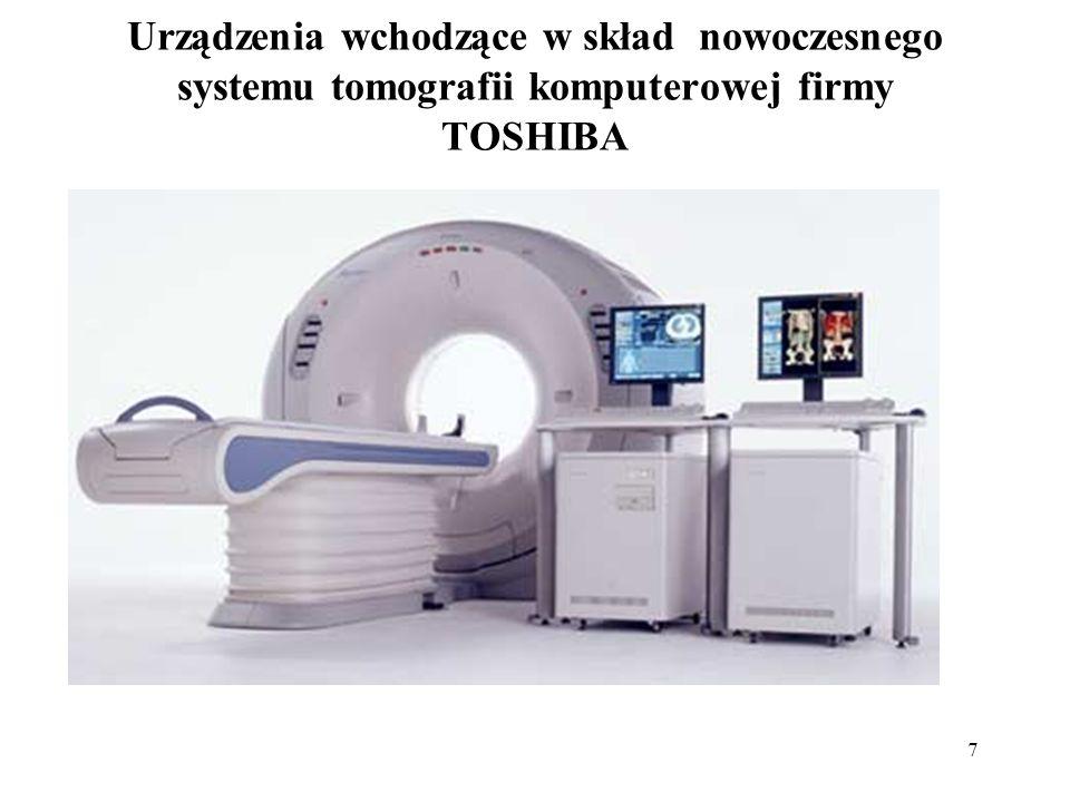 8 Tomograf komputerowy składa się części konstrukcyjnych, jakich jak: brama – nazywana również gantrą (średnica 70cm), z otworem w centralnej jej części, do którego wsuwa się pacjenta podczas badania; lampa rentgenowska – stanowi źródło promieniowania X; tablica detektorów – stanowi zespół odbiorników zamieniających wartość natężenia promieniowania rentgenowskiego na wartości elektryczne; stół – służy do ułożenia badanego pacjenta; w trakcie pomiarów można nim sterować manualnie, jak również automatycznie.