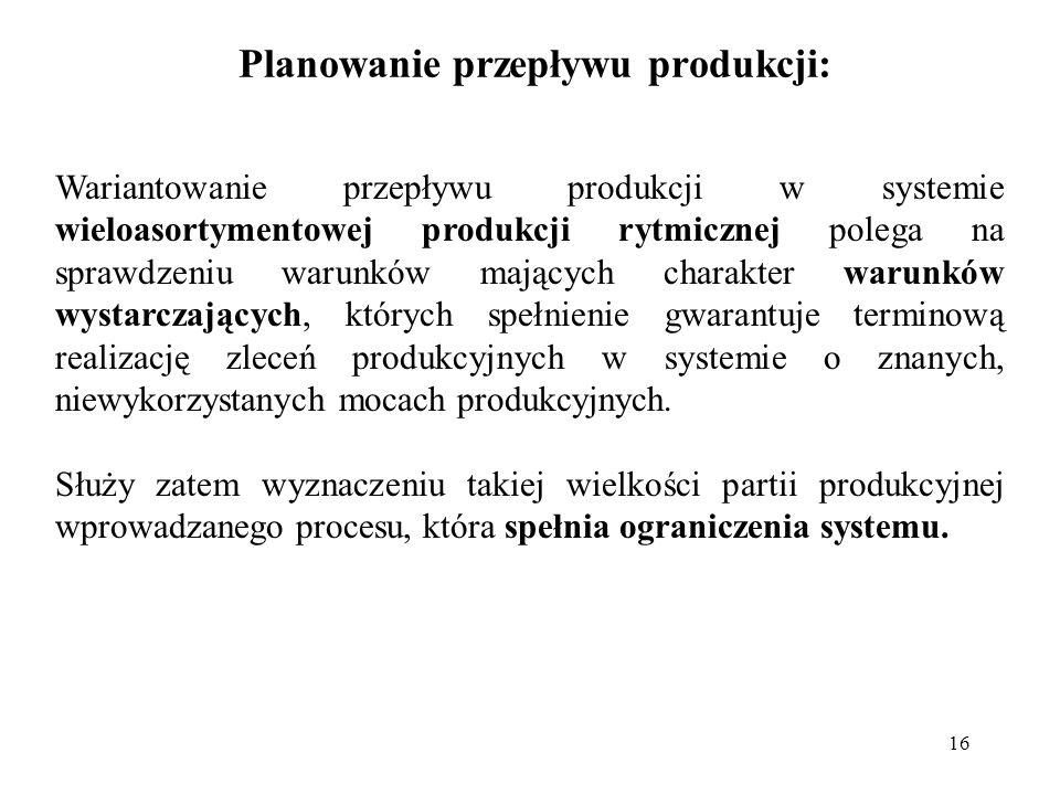 16 Planowanie przepływu produkcji: Wariantowanie przepływu produkcji w systemie wieloasortymentowej produkcji rytmicznej polega na sprawdzeniu warunkó