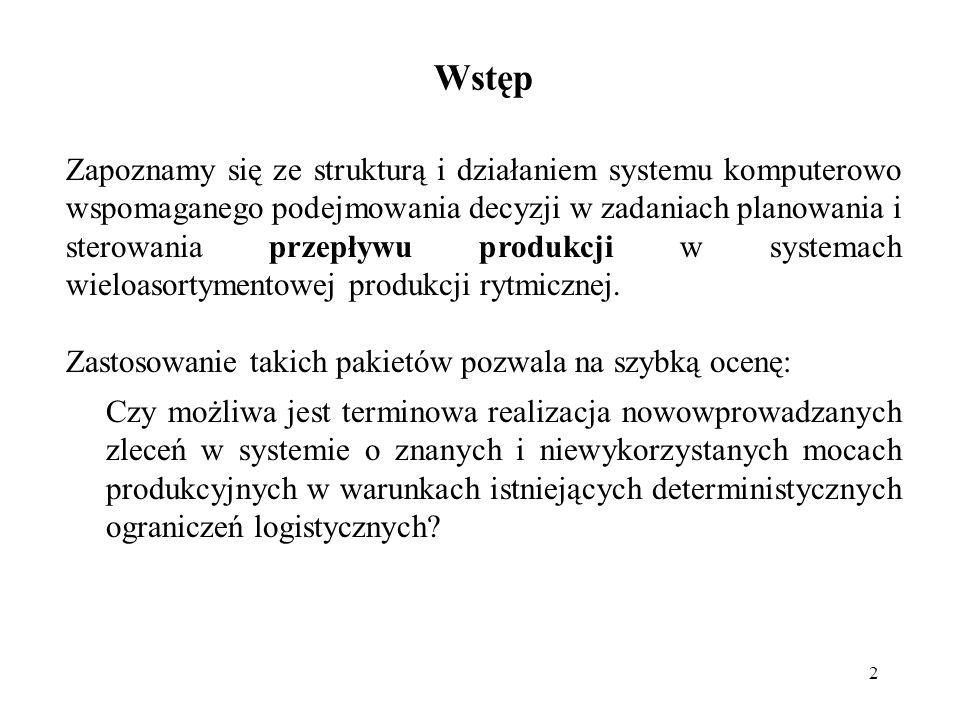 2 Wstęp Zapoznamy się ze strukturą i działaniem systemu komputerowo wspomaganego podejmowania decyzji w zadaniach planowania i sterowania przepływu pr