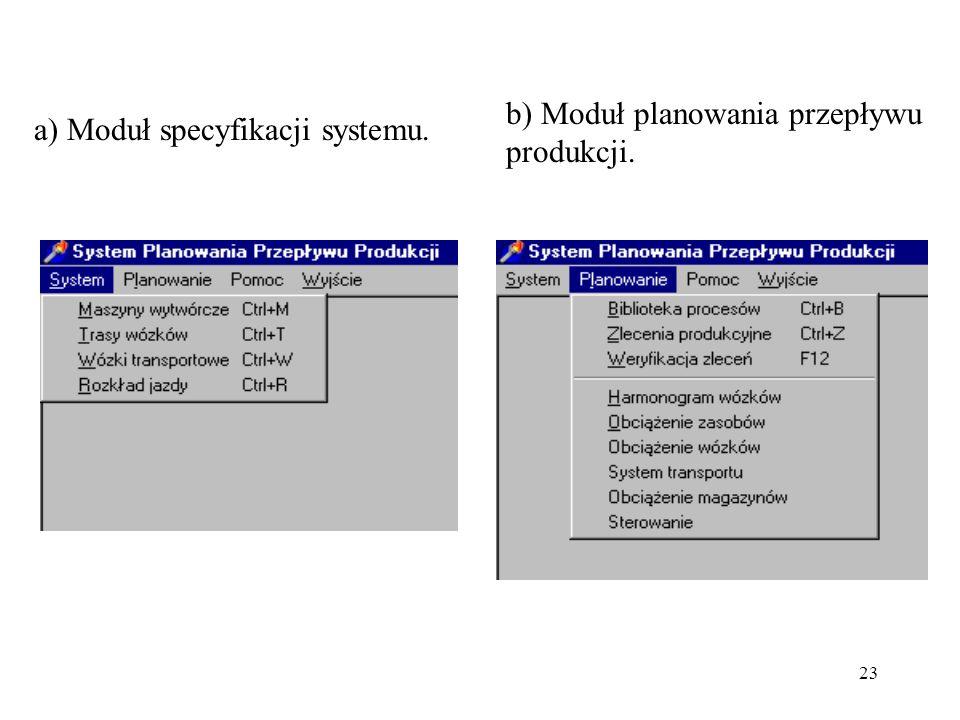 23 a) Moduł specyfikacji systemu. b) Moduł planowania przepływu produkcji.