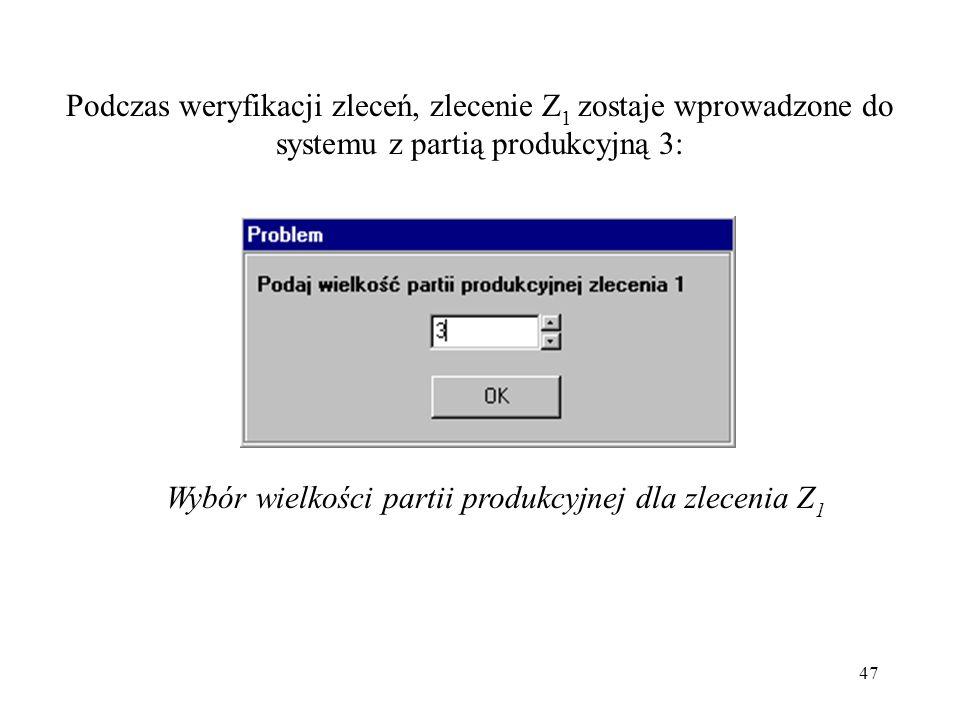 47 Podczas weryfikacji zleceń, zlecenie Z 1 zostaje wprowadzone do systemu z partią produkcyjną 3: Wybór wielkości partii produkcyjnej dla zlecenia Z
