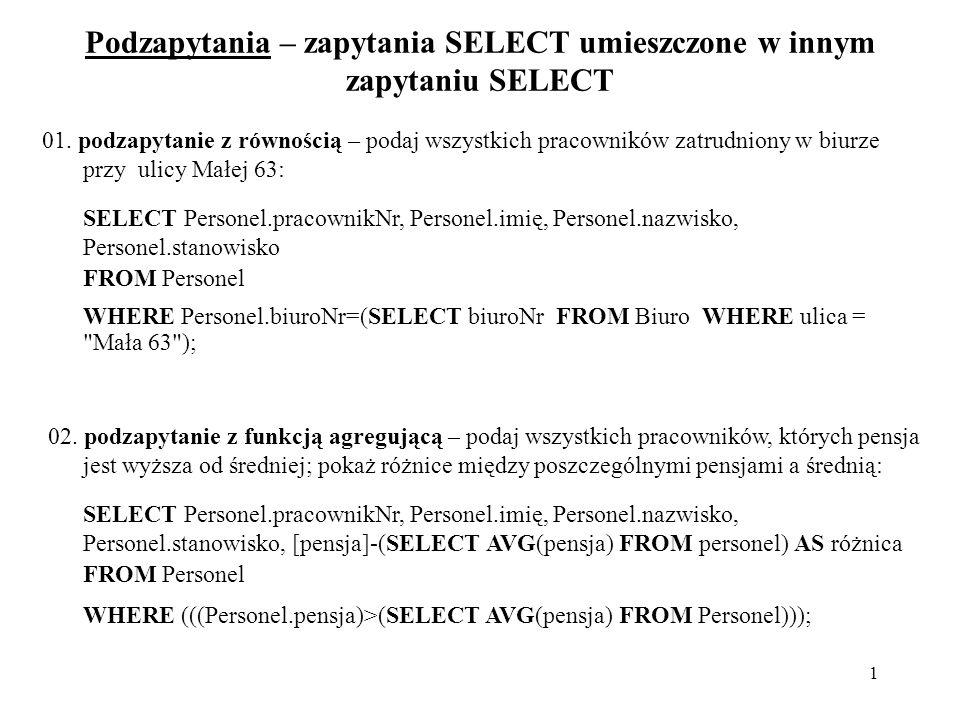 12 Przykłady wyrażeń, w których jako kryteria zastosowano wartości tekstowe NazwaFirmy>= N Wyświetla zamówienia wysłane do firm, których nazwy zaczynają się na litery od N do Z.