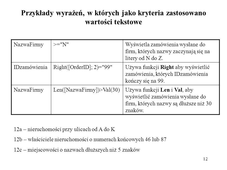 12 Przykłady wyrażeń, w których jako kryteria zastosowano wartości tekstowe NazwaFirmy>=