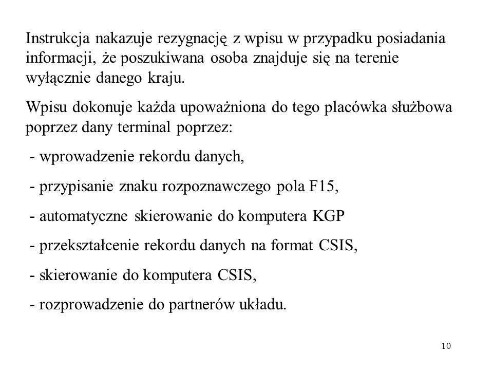 10 Instrukcja nakazuje rezygnację z wpisu w przypadku posiadania informacji, że poszukiwana osoba znajduje się na terenie wyłącznie danego kraju. Wpis