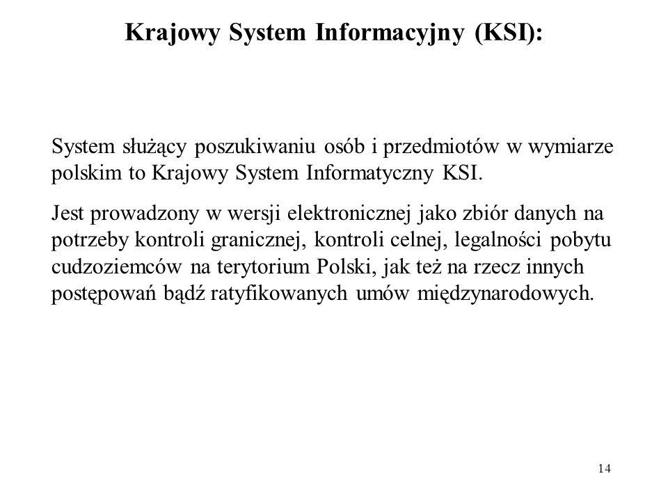 14 Krajowy System Informacyjny (KSI): System służący poszukiwaniu osób i przedmiotów w wymiarze polskim to Krajowy System Informatyczny KSI. Jest prow
